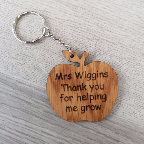 Teacher Apple Keyring, 'Thank you for helping me grow'